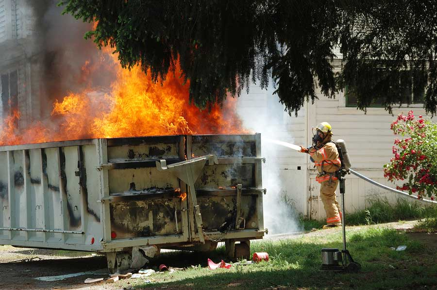 Dumpster on fire